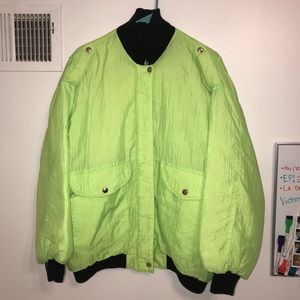 VINTAGE YELLOWISH NEONGREEN BOMBER JACKET